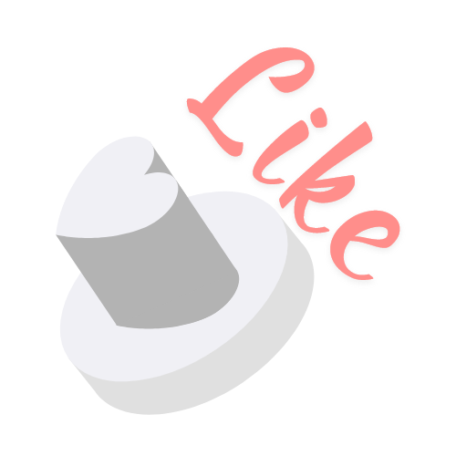 "Illustration of heart-shaped button ""like"" write in Dv Live color"