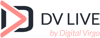 DV Live logo, an audience monetization solution powered by Digital Virgo