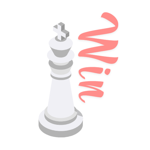 "Illustration of chess king with ""win"" write in Dv Live color"